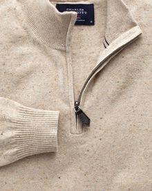 Stone cotton cashmere zip neck jumper