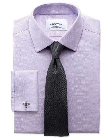 Slim fit non-iron honeycomb lilac shirt