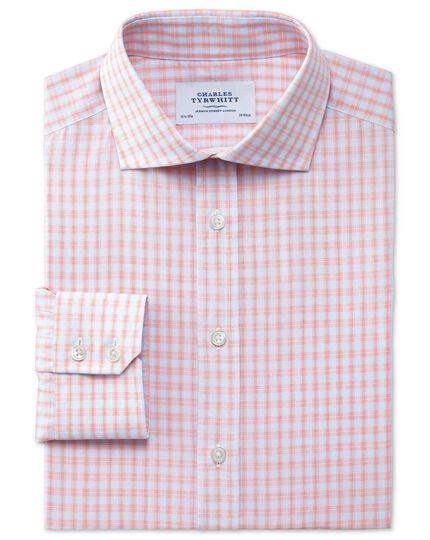 Slim fit cutaway collar Egyptian cotton compact check orange shirt