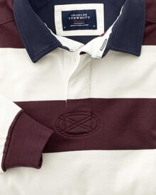 Classic fit wine and white striped rugby shirt