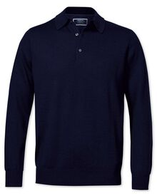 Navy merino wool polo neck jumper