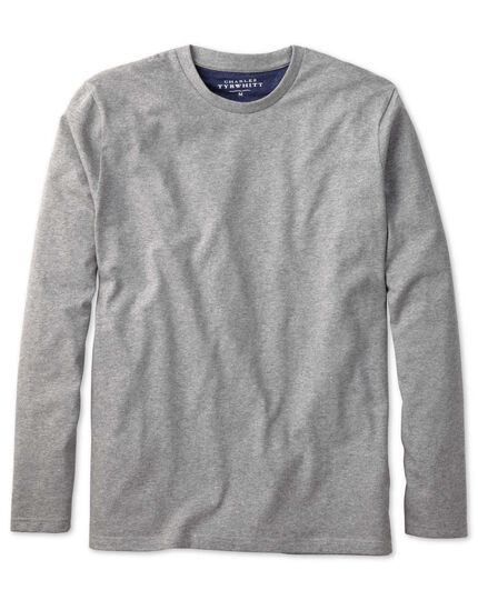 Grey cotton long sleeve t-shirt