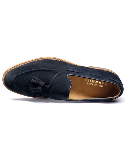 Blue Keybridge suede tassel loafers