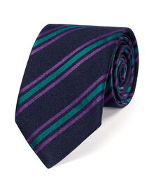 Navy and green luxury wool stripe tie