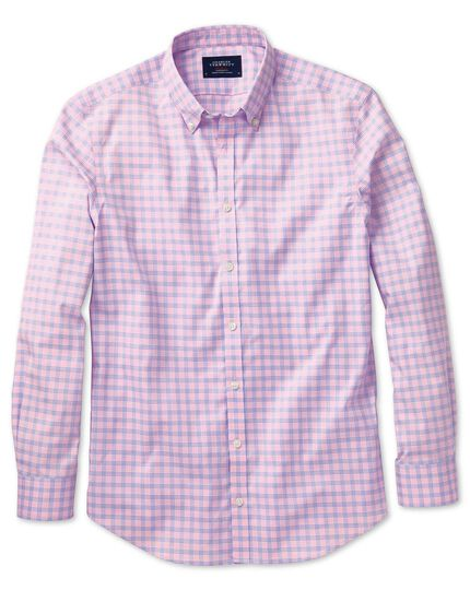Extra slim fit non-iron poplin pink and sky blue check shirt