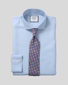 Classic fit spread collar non-iron twill sky blue shirt