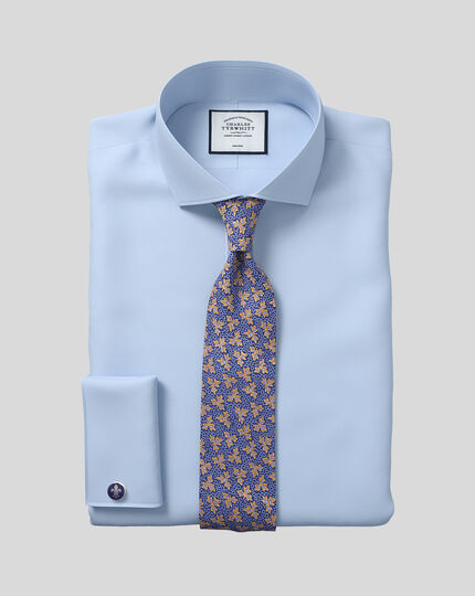 Classic fit spread collar non-iron twill sky blue shirt