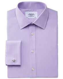 Classic fit end-on-end lilac shirt