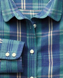 Women's semi-fitted large tartan check brushed twill green and navy shirt