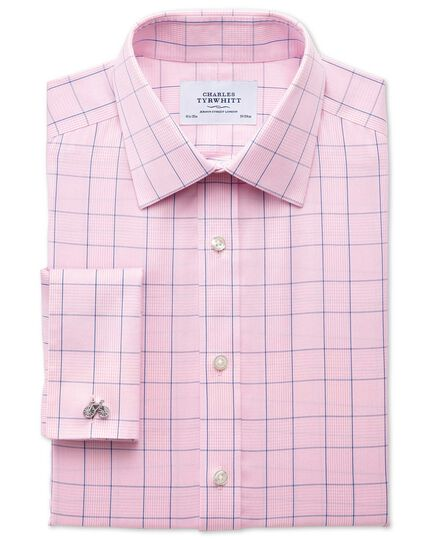 Classic fit non-iron Prince of Wales check pink and blue shirt