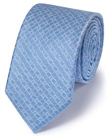 Slim sky silk classic geometric floral tie