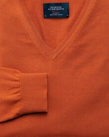 Orange merino wool v-neck sweater
