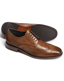 Tan Hedley wingtip brogue Oxford shoes