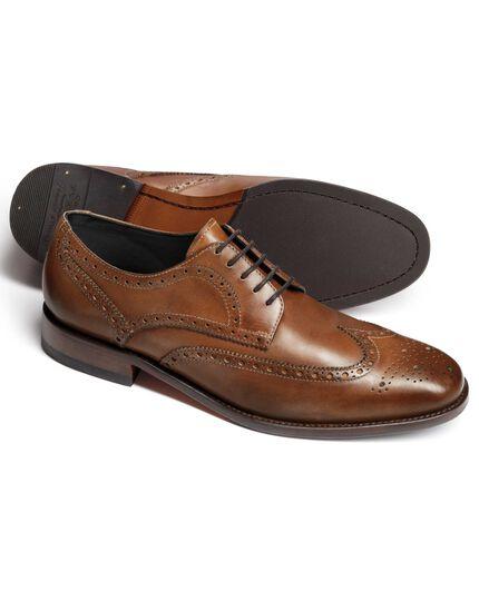 Tan Hedley wingtip brogue shoes