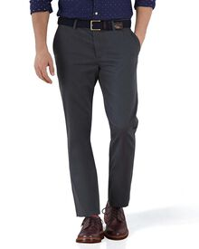 Charcoal extra slim fit flat front chinos