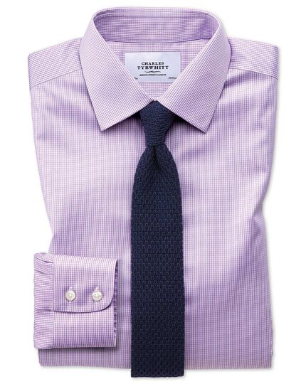 Extra slim fit non-iron puppytooth lilac shirt
