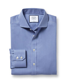 Extra slim fit spread collar non-iron puppytooth royal blue shirt