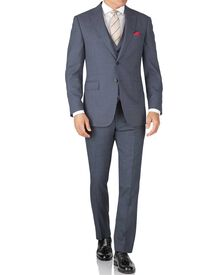 Slim Fit Reiseanzug aus Sharkskin in hellblau