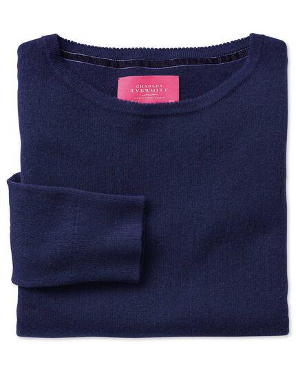 Blue merino cashmere long line jumper