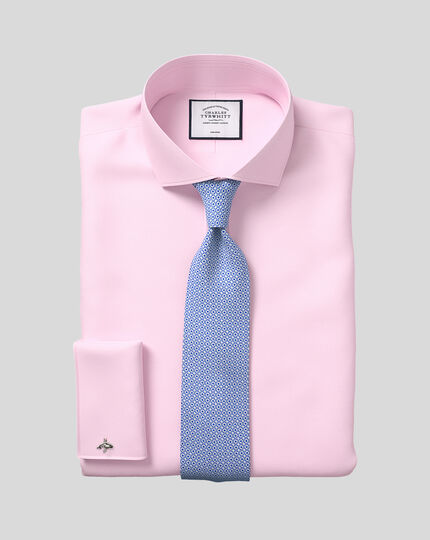 Extra slim fit cutaway collar non-iron twill pink shirt