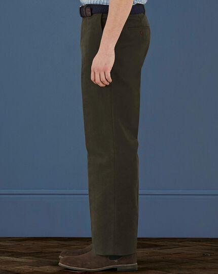 Dark khaki classic fit moleskin pants