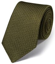 Khaki silk plain grenadine Italian luxury tie