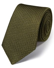 Khaki silk luxury Italian grenadine plain tie