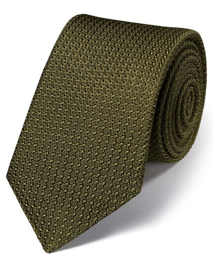 Khaki silk luxury Italian grenadine plain tie