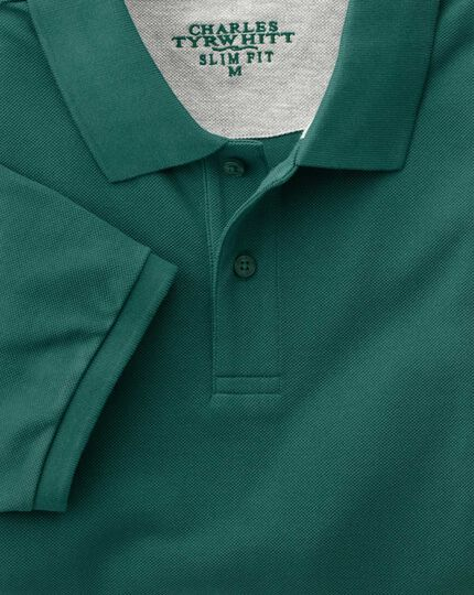 Slim fit forest green pique polo
