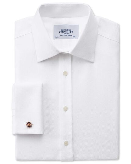 Slim fit non-iron Buckingham weave white shirt