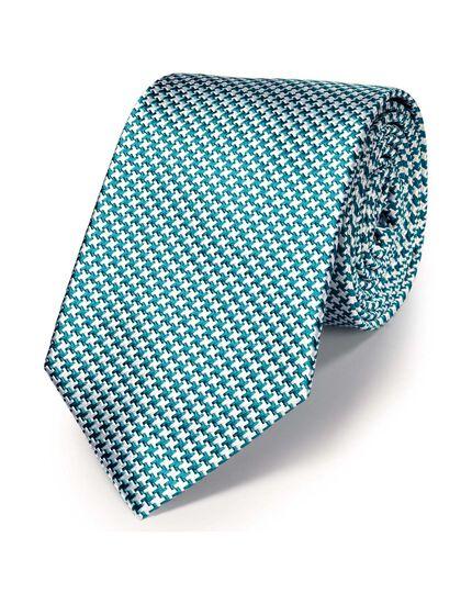 Green silk classic puppytooth tie