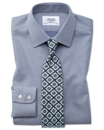 Classic fit non-iron square weave navy blue shirt