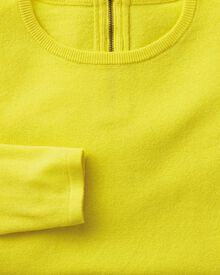 Yellow merino cashmere zip back jumper