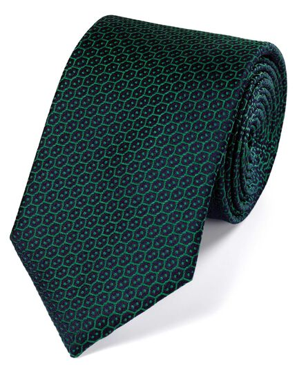 Forest green silk wire lattice classic tie