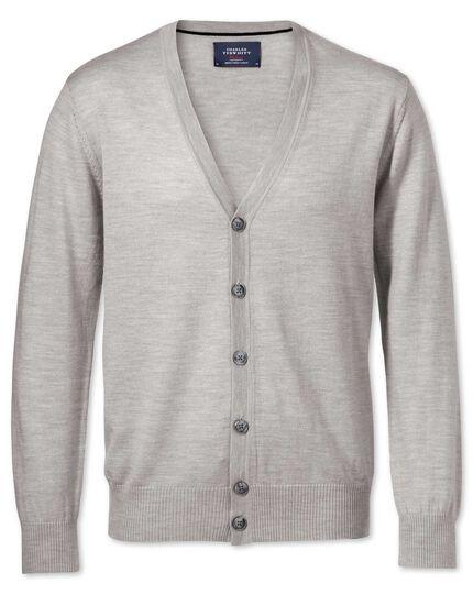 Silver merino wool cardigan