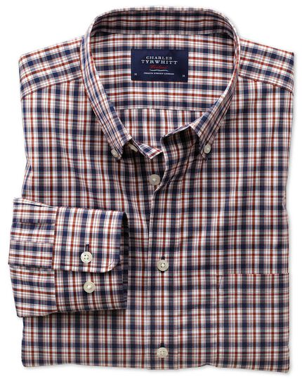 Extra slim fit non-iron poplin blue and orange check shirt