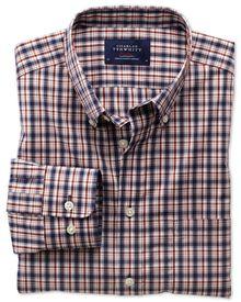 Bügelfreies Classic Fit Hemd aus Popeline in blau und orange mit Karos