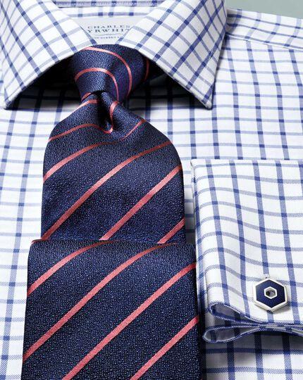 Bügelfreies Slim Fit Twill-Hemd in königsblau mit Gitterkaros