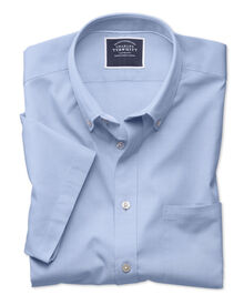 Classic fit sky short sleeve washed Oxford shirt