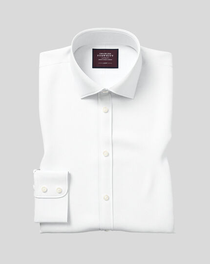 Classic fit semi-cutaway collar luxury twill white shirt