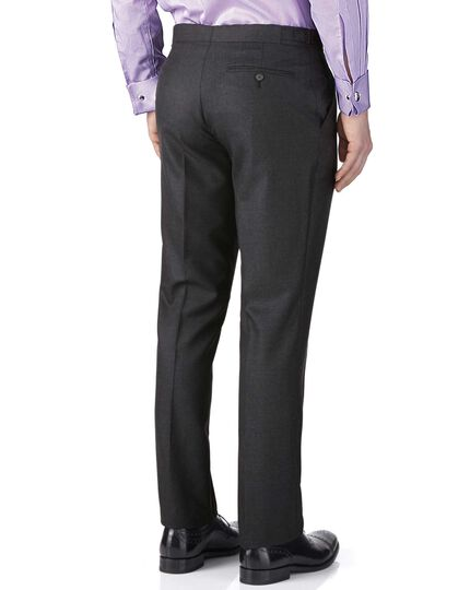 Charcoal slim fit British Panama luxury suit trousers