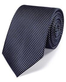 Navy silk classic natte tie