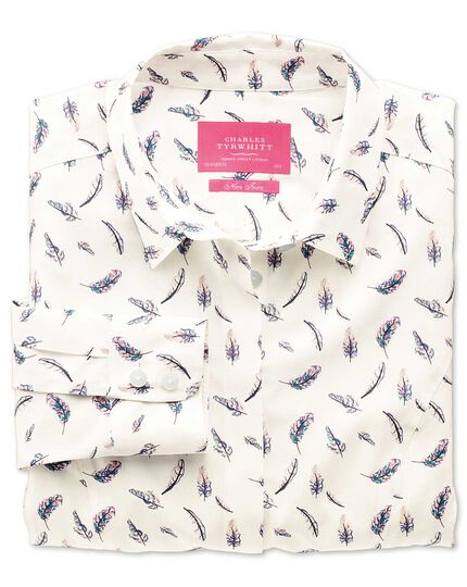Women's semi-fitted non-iron feather print shirt