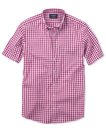 Slim fit non-iron poplin short sleeve raspberry check shirt