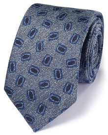 Chambray linen mix Italian luxury square tie