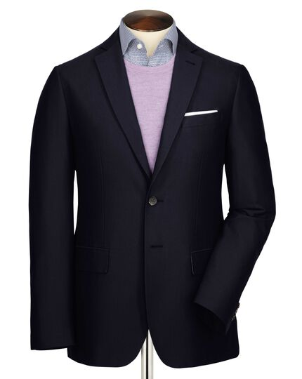 Navy classic fit Oxford unstructured jacket