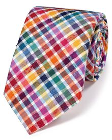 Multi silk luxury English check tie