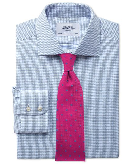 Slim fit semi-spread collar melange puppytooth sky blue shirt