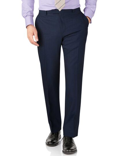 Blue slim fit British Panama luxury suit trouser