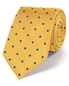 Gold and blue silk classic spot tie